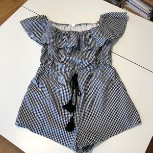 Black and White Gingham Off the Shoulder Romper M